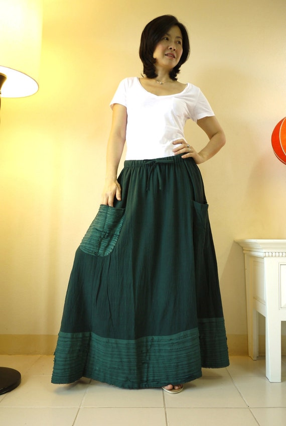 Artistic Fray - Hand Dyed Dark Green Medium weight Cotton Skirt With Fray Frill