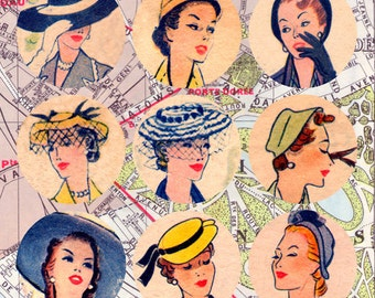 Paris Chic 1950's Fashion 2.5 inch Circles Instant Download  digital collage sheet printable 003