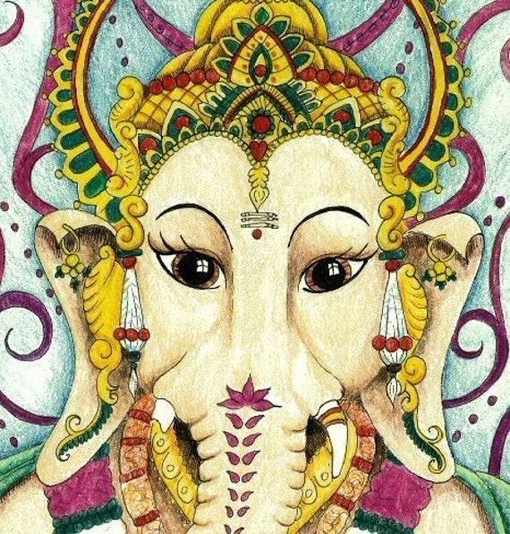 Ganesh Hindu God blank greetings card