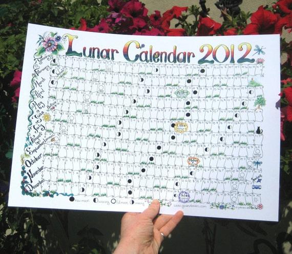 2012 Lunar Moon Calendar  A3