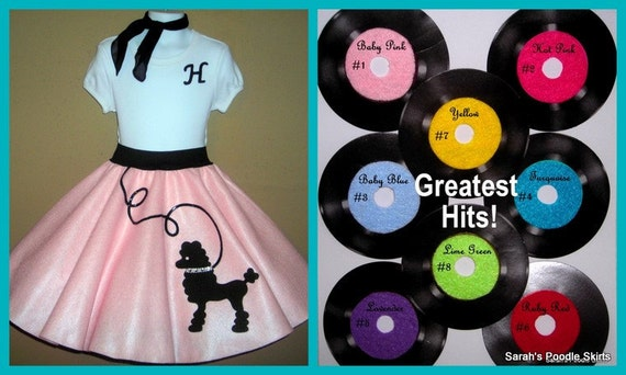 """New Girls Custom Made 3pc Poodle Skirt Outift Featuring My """"Fluffy"""" Poodle Your Choice of Size and Color S,M,L,XL"""