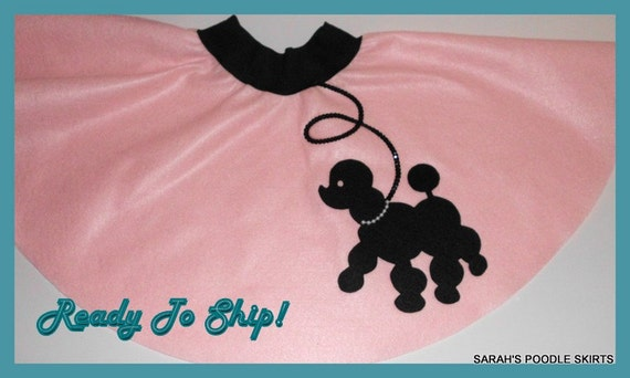 """New Girls X-Small 3-4-5-6 Baby Pink Prancing Poodle Skirt """"Ready To Ship"""""""