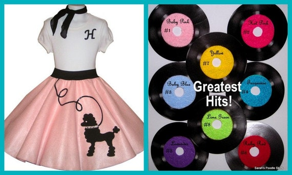 "New Girls Custom Made 3pc Poodle Skirt Outift Featuring My ""Fluffy"" Poodle Your Choice of Size and Color S,M,L,XL"