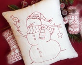 Primitive Redwork Snowman Pillow