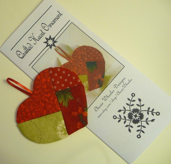 Pattern for No-sew Quilted Heart Ornament PDF