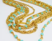 Reworked Gold and Seafoam Multi Chain Layered Necklace
