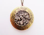 STORE CLOSING October 30th - Final Markdown - Starry Night. Crushed Raw Pyrite and Brass Locket