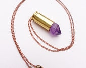 Little Raw Amethyst Crystal Bullet Pendant on Red Brass Chain