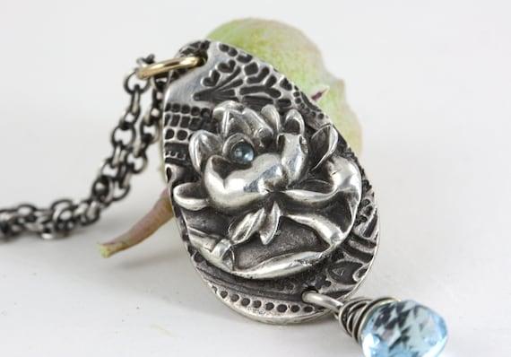 Lotus Necklace - Yoga Jewelry - Buddhist Jewelry - Eco Friendly  - Sterling Silver Topaz Buddha