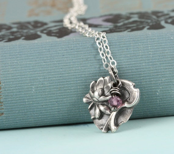 Tiny Lotus Water Lily Yoga Necklace with Tiny Pink Garnet