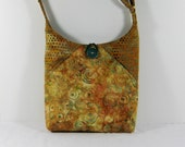Batik Hip Bag with Swirl Design in Gold and Teal and Adjustable Strap