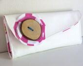 White Vinyl Wallet with pink chevron interior