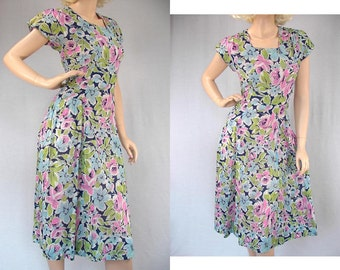 Vintage 40s Dress Floral Blue Pink Green Light & Breezy Gauzy Cotton Gay Gibson Label Reg. U.S. Pat. Off. Metal Zipper 1940s Dresses