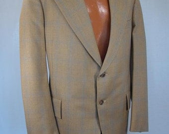 "Vintage 60s 70s Jacket Iconic Zachary All ""Eddie, Are You Kiddin' Me"" Slogan Mens Sportcoat Beige Blue Plaid Jacket Blazer 1960s Coats"