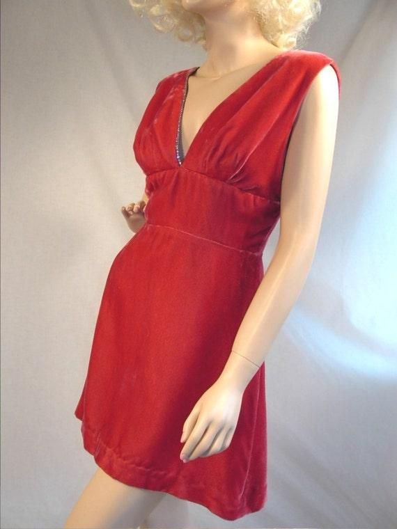 Vintage 60s Mini Dress Cocktail Party Dark Watermelon Pink Red Velvet Sandi Monica California Label 1960s Dresses