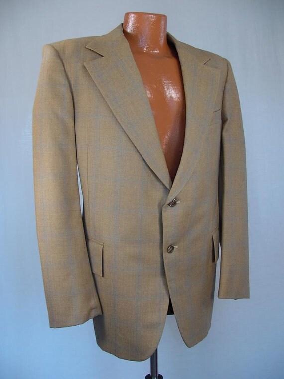 "Vintage 60s 70s Jacket Iconic Zachary All ""Eddie, Are You Kiddin' Me"" Slogan Mens Sportcoat Beige Blue Plaid Jacket Blazer 1960s Coats"