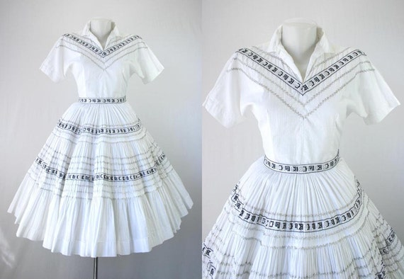 "50s Dress Vintage 40s Patio DressSet Bogart Label Squaw Blouse Skirt Circle 240"" Sweep White Black Silver Metal Zip Rockabilly 1950s Dresses"