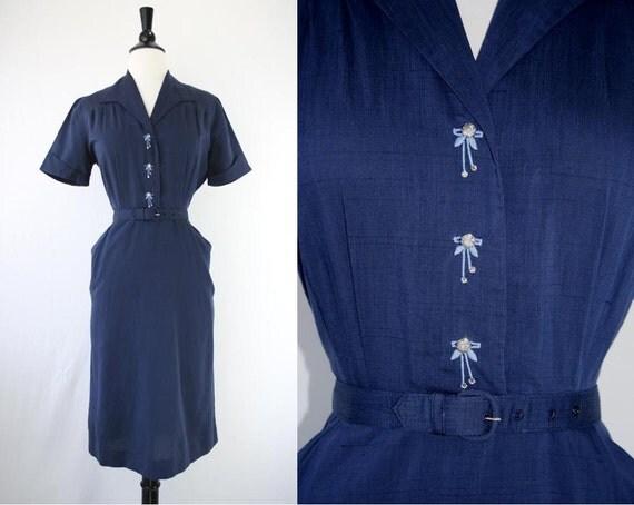 50s Dress Vintage Rockabilly Wiggle Day Rhinestone Buttons Silk Cotton Shantung Design Label Shirtwaist 1950s Dresses