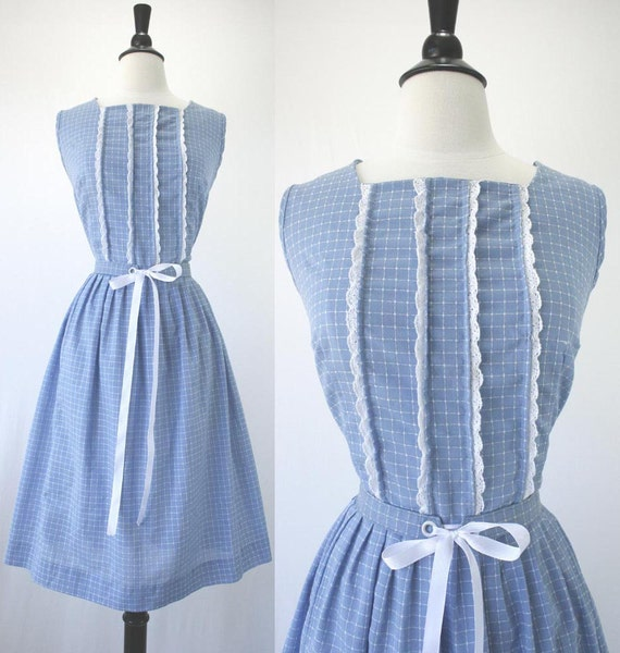 50s Dress Vintage Day Frock Pleated Skirt Blue & White Windowpane Check Woven Cotton Poly Cute Bodice Lace 1950s Dresses