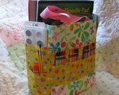 floral and dot art caddy scrapbooking organizer tote