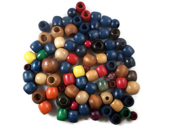 Wood Beads Various Sizes Colors Destash 82