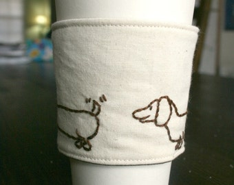 Frankie the wiener dog cup cozy