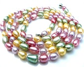 EYE CANDY - Long Stunning Genuine Multicolor Freshwater Pearl Necklace