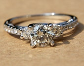2.26 carats - Round Diamond Engagement Ring - Solid Platinum -  weddings - brides