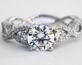PLATINUM Diamond Engagement Ring SETTING semi mount- Round - Pave - Antique Style - Weddings- Luxury- Brides