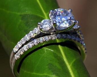 Diamond Engagement Ring - Round 14k white gold - three stone - 1.35 carat - weddings - brides - engagement - luxury - custom made
