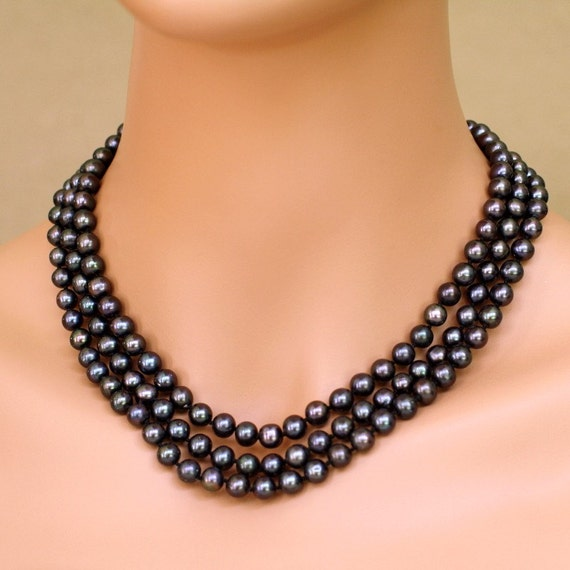 at midnight real black pearl necklace by beautifulpetra