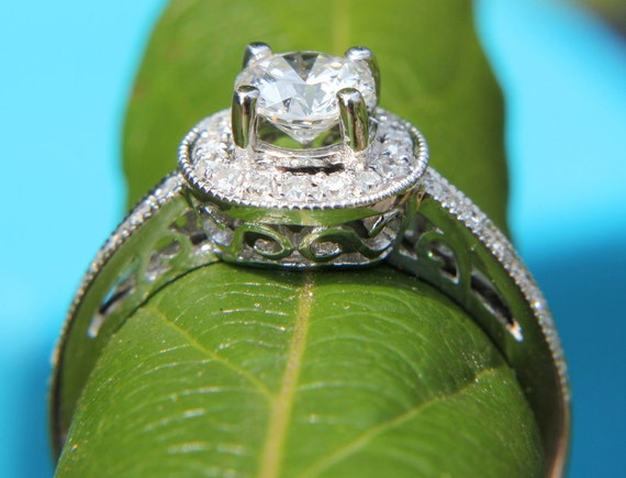 HALO Round Diamond Engagement Ring - .67 cttw - 1/2 carat center - 14K White Gold - Antique Style - Pave - weddings - brides