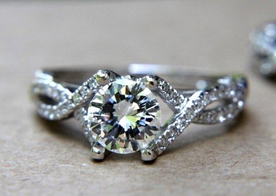 CUSTOM Made - Diamond Engagement Ring and Wedding band set - Round - Pave - Antique Style - Weddings - Luxury - Bp015