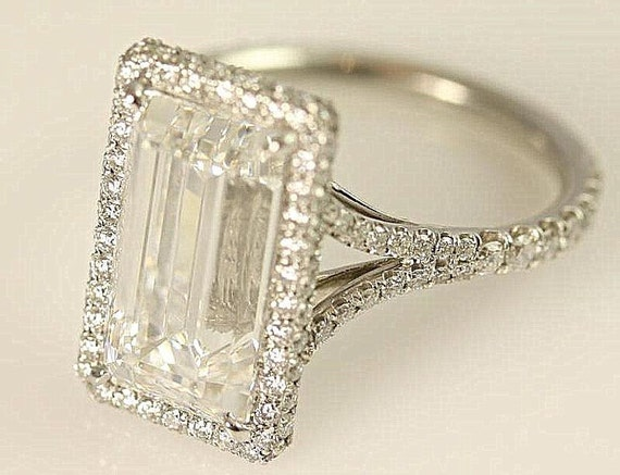 Sale - GIA Certified F/VVS2 - Emerald Cut Diamond engagement ring - 14K white gold - Bph027