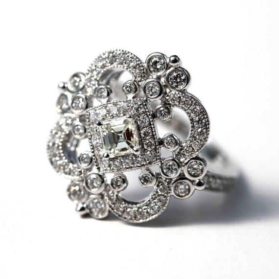 DUCHESS - Diamond Engagement Ring or Right Hand ring SEMI-MOUNT-14K white gold - Weddings- Luxury