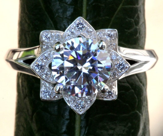 CERTIFIED - UNIQUE Flower Rose Lotus Diamond Engagement or Right Hand Ring - 1.50 carat - Plain band- GIA - Egl - Igi - Fl02