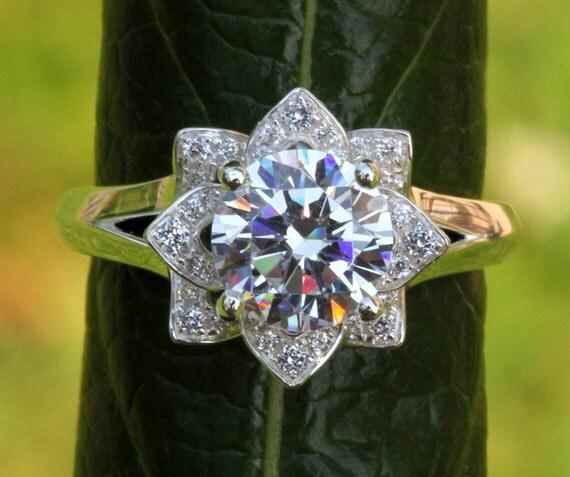 unique flower rose lotus diamond engagement or right hand ring. Black Bedroom Furniture Sets. Home Design Ideas