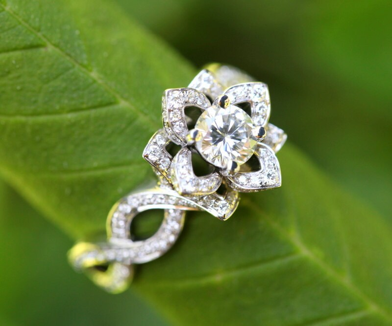 ... Flower Lotus Rose Diamond Engagement or Right Hand Semi mount Ring  Setting. 🔎zoom