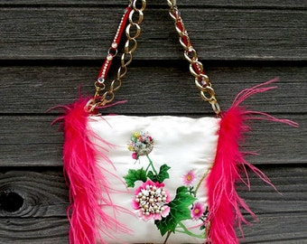 Hand crafted bag by WVR, silk and feathers