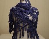 LAST ITEM! CLEARANCE! Navy Blue Polestar Shawl / Navy Blue Crochet Shawl / Navy Blue Wrap Shawl / Mohair Shawl / Navy Blue Triangle Shawl