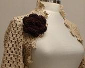 Long Sleeve Shrug Handmade Bridal Shrug - Caramel Organic Cotton Salsa Shrug