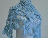 CLEARANCE! Blue Shawl / Blue Crochet Shawl / Blue Wrap Shawl / Blue Triangle Shawl / Blue Handmade Shawl / Flower