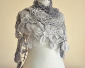 CLEARANCE! Gray Shawl / Gray Crochet Shawl / Wrap Shawl