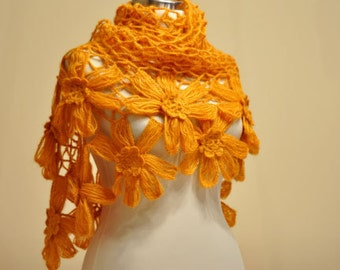 CLEARANCE! Mustard Yellow Flower Shawl