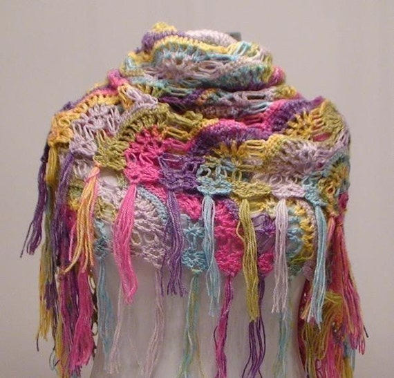 Rainbow Warm Mohair Shawl...Gift for her