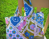 SALE-SALE-SALE---Vintage Girl Reusable Tote - Mod Flowers perfect for just about anything GO GREEN