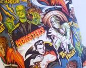 Dracula n Frankenstein rockabilly Pillow cover