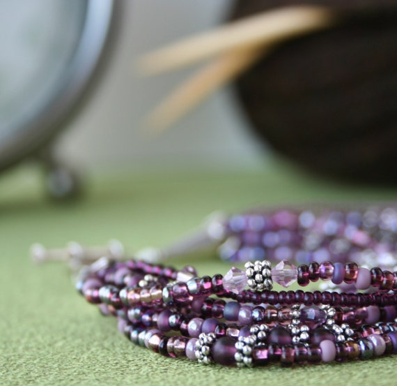Purple Multi-Strand Beaded Bracelet