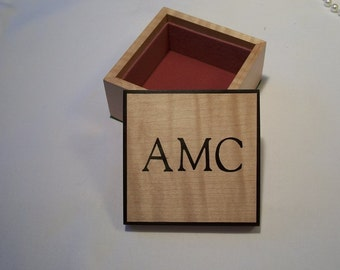 Monogram Box Treasure Box Trinket Box Maple