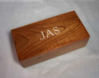 Mens Jewelry Box Desk Box Dresser Valet,  Monogrammed